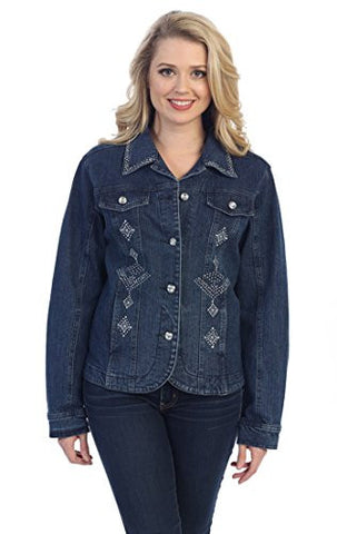 Katina Marie Diamond Crystal Black Denim Jacket Long Sleeve Rhinestone Accents