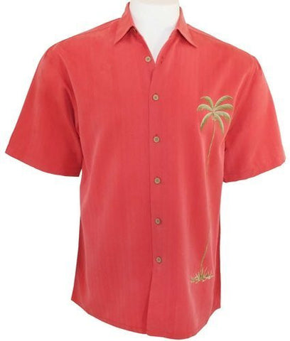Bamboo Cay Men's Tropical Style, Button Front Shirt, Colored in Tomato - Solo Palm