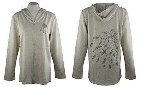 Cactus Bay - Breezy Dreamcatcher, Long Sleeve Rhinestone Accent Cotton Hoodie