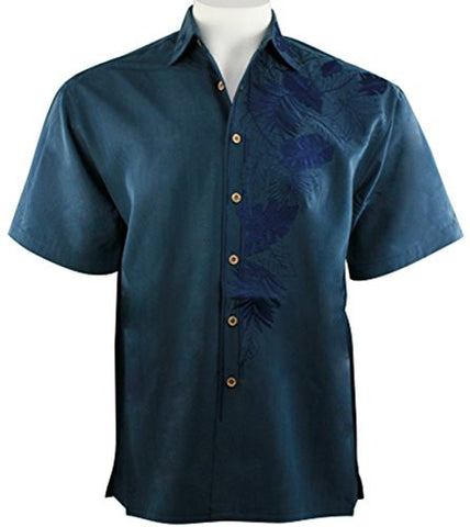 Bamboo Cay - Island Leaf Nation, Embroidered Tropical Style Blue Men's Shirt