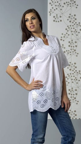 Bacci Clothing - Nicole, Peasant Blouse, Short Sleeve Button Front, Knitted Accents