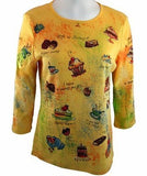 Cactus Fashion Rhinestones, Pure Gold Scoop Neck Top - Sweet Lover