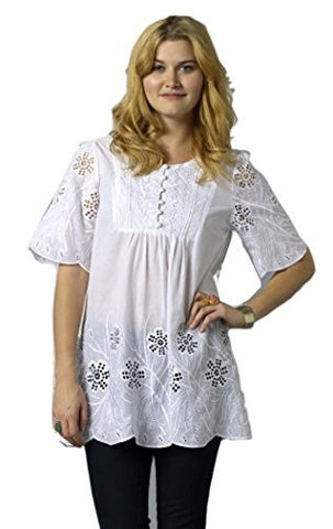 Bacci Clothing - Nadia, Peasant Blouse, Short Sleeve Button Front, Knitted Accents