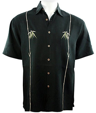 Bamboo Cay - Dual Bamboo, Tropical Style Black Shirt Background Embroidered