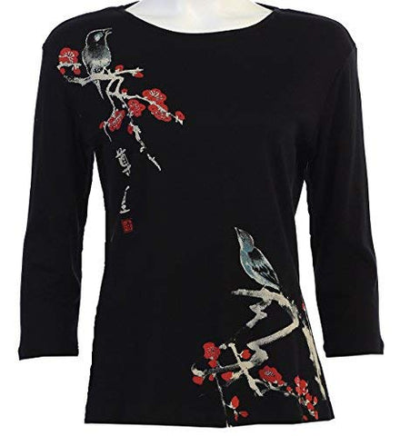 Jess n Jane - Melody, 3/4 Sleeve Scoop Neck Rhinestone Accent Cotton Print Top