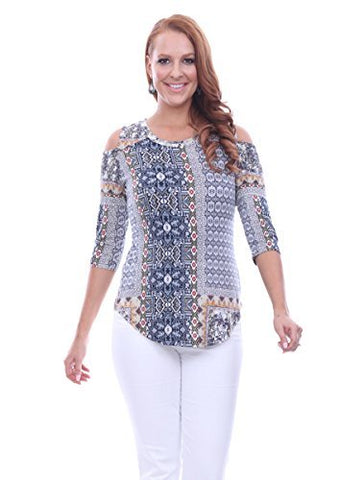 Parsley & Sage Sicily, 1/2 Sleeve Scoop Neck Cold Shoulder Geometric Pattern Top
