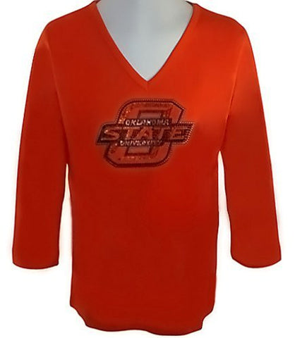 Collegiate Fashionista Oklahoma State University College Top, Rhinestone School Logo