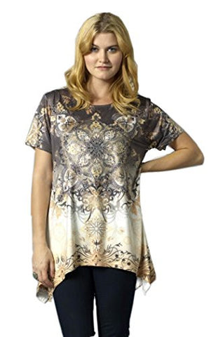 Bacci Clothing - Zandra, Rhinestones, Sublimation, Short Sleeve Scoop Neck Top