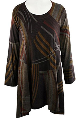 Nally & Millie - Changing Lane Geometric Pattern Scoop Neck Asymmetric Hem Tunic