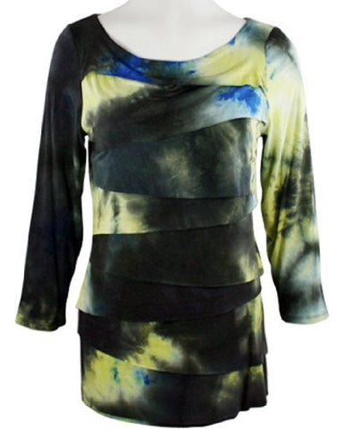 Boho Chic - Morning Midnight, Scoop Neck, Horizontal Ruffled Tie Dye, Top