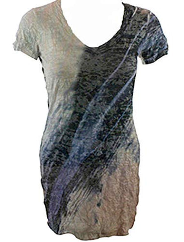 Elvis Laskin Clothing - Angled Lines, Short Sleeve Abstract Casual Design Printed Top