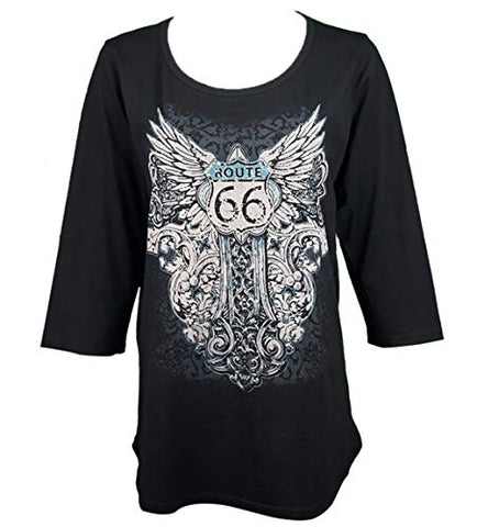 Cactus Bay Apparel - Gothic Rt 66, Scoop Neck, Hi-Lo Hem Accent Studs Fashion Top