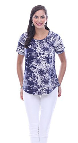 Parsley & Sage Trinity, Short Sleeve Scoop Neck Floral Accented Fancy Print Top