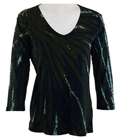 Impulse California - Navy Hand-Dyed, Side Pockets, Shirred V-Neck Tunic Top