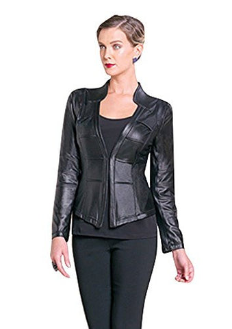 Clara Sun Woo Cardigan Black Soft Knit Leatherette Jacket w/Hook Closure