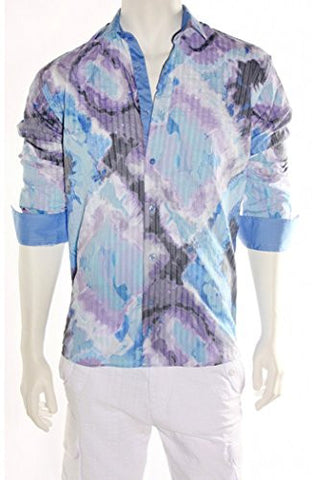 Envy Evolution Shades of Blue Button Front Colored Cuff Lightweight Men's Shirt