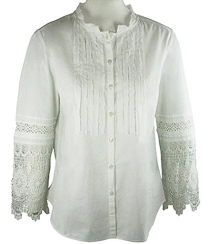 Ravel Fashion Cut-Out Patterned Trimmed Sleeves Mock Neck White Peasant Blouse