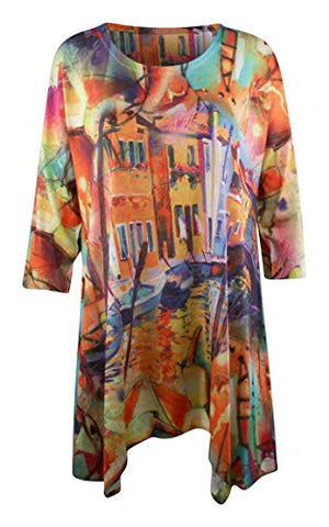Et'Lois - City Streets, Scoop Neck, 3/4 Sleeve, Contemporary Colorful Fashion Tunic