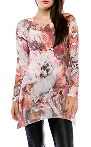 Cubism Apparel - Last Promise, Asymmetric Hem, Long Sleeve Tunic Top