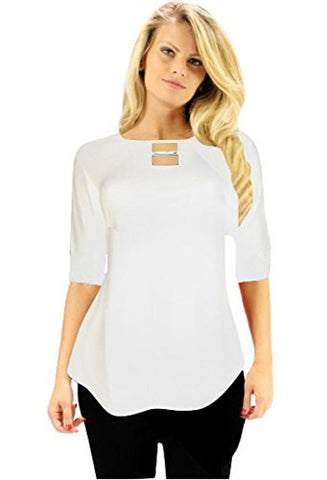 Crystaline Collections Crystal Collar Cold Shoulder White Tunic Swarovski Crystal Accent