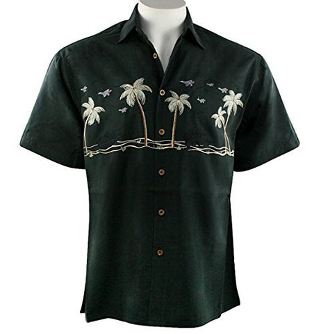 Bamboo Cay - Paradise Salute, Military Styled Embroidered Men's Tropical Shirt