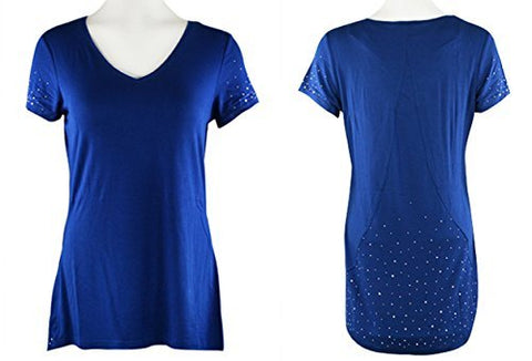 Crystaline Collections - Crystal Scatter V-Neck Short Sleeve Top Swarovski Crystal Accents