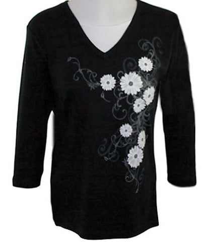 Morning Sun - Baroque Daisies, 3/4 Sleeve Rhinestone Accented Top