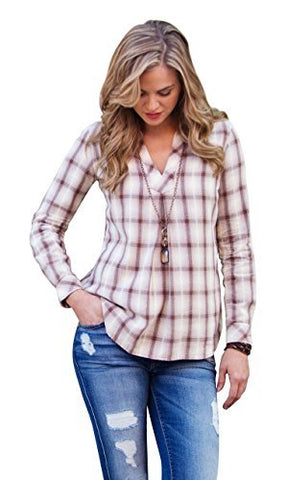 Ryan Michael Sonora Desert Plaid Tucson Star Snaps Pleat V Neck Women's Shirt