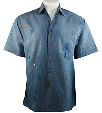 Bamboo Cay - Freedom Sailboat, Tropical Style Blue Colored Embroidered Shirt