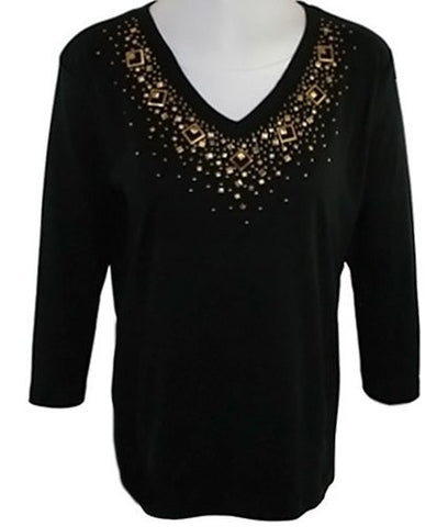 Morning Sun - Square Off Black Novelty Top with Applique Accents