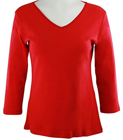 Katina Marie Red Colored 3/4 Sleeve V-Neck Cotton Top