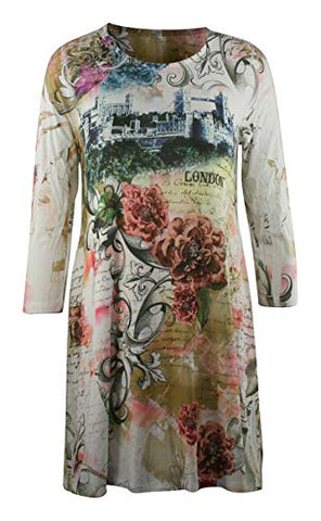 Sea & Anchor - London Flowers, 3/4 Sleeve, Scoop Neck, Trendy Women's Tunic Top