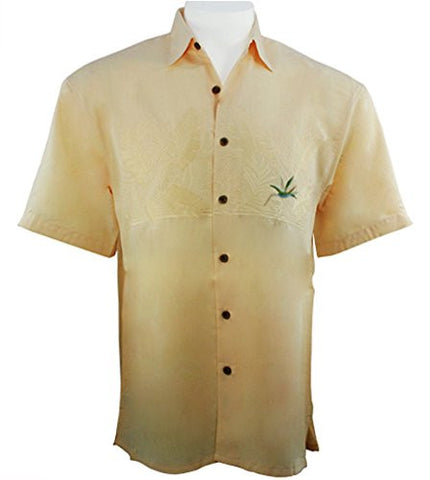 Bamboo Cay - Bird of Paradise, Tropical Style, Button Front Men's Yellow Shirt