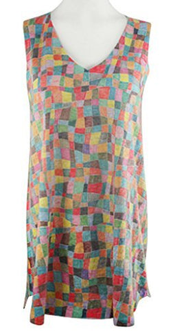 Nally & Millie - Colored Squares, Lightweight V-Neck Sleeveless Knit Tunic