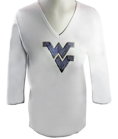 Collegiate Fashionista University of West Virginia College Top, Rhinestone School Logo
