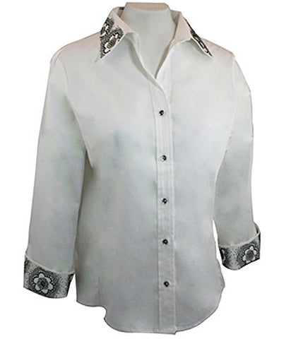 Christine Alexander Black & Crystal Floral, Swarovski Crystal Fitted White Blouse