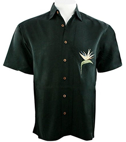 Bamboo Cay - Single Palm Men's Tropical Style Black Shirt Background Embroidered