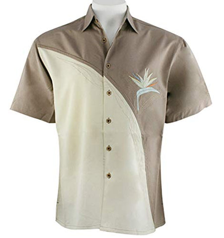 Bamboo Cay Crescent Bird of Paradise, Tropical Style Embroidered Brown Shirt