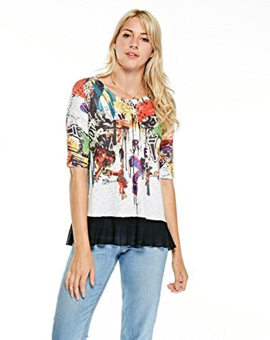 Inoah - Much Ado, Elbow Sleeve Chiffon Hem Wearable Art Colorfully Printed Top