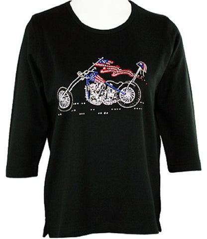 Christine Alexander Crystal Flag Motorcycle Scoop Neck Swarovski Crystal Accents
