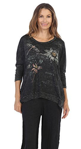 Jess & Jane Botanique, Mineral Washed Cotton Slub Dolman Sleeve Rib Detail Tunic