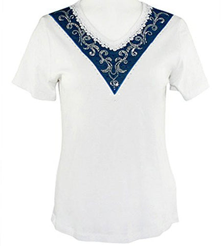 Cactus Fashion - Angled End, Short Sleeve, Lace Trim Rhinestone Cotton Top
