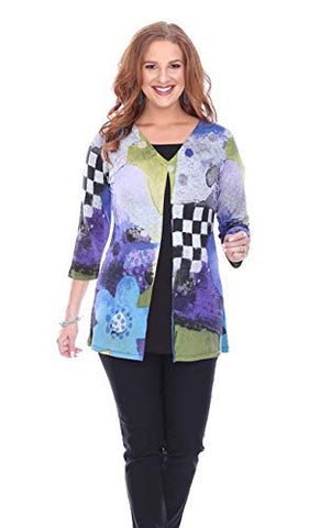 Parsley & Sage - Meghan, Geometric Pattern 3/4 Sleeve V-Neck Two-for Tunic Top
