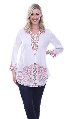 Parsley & Sage Montana, 3/4 Flared Sleeve, V-Neck, Henley Top In a Floral Pattern
