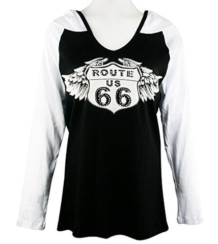 Big Bang Clothing Route 66, Long Sleeve, Rhinestone Accent Printed Hoodie Top