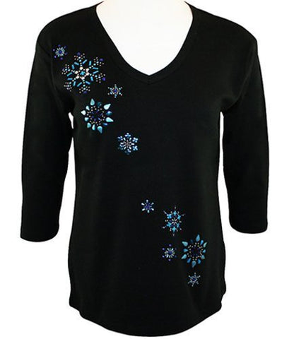 Morning Sun - Snowflake Breeze, Black 3/4 Sleeve V-Neck Rhinestone Top