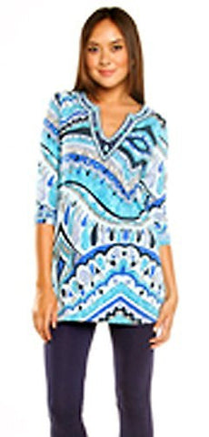 Joyous & Free - Diamond Head, 3/4 Sleeve Tunic Sweetheart Collar & Side Pleats