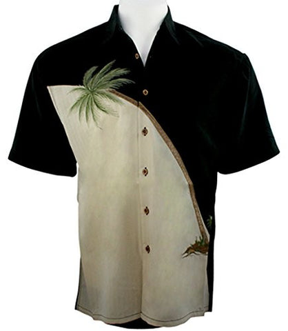 Bamboo Cay - Hurricane Palm, Embroidered Tropical Style Black Color Men's Shirt