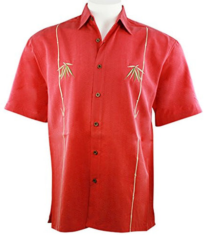 Bamboo Cay - Dual Bamboo, Men's Tropical Style Red Shirt Background Embroidered