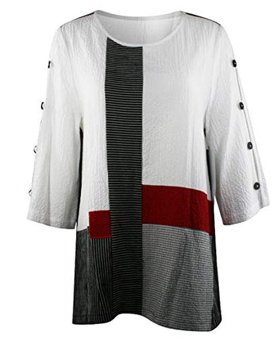 Moonlight - 3/4 Accented Sleeve Scoop Neck Pullover Asian Theme Fashion Tunic